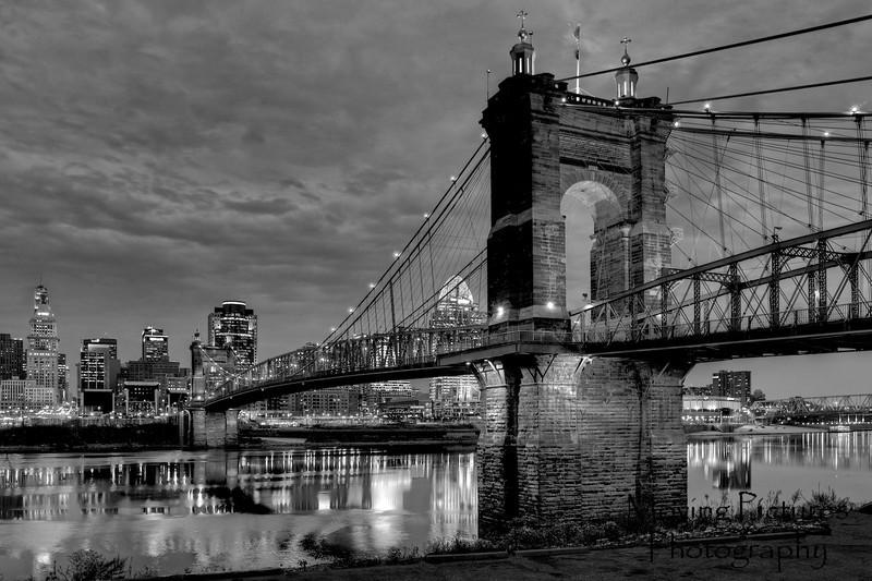 Roebling Suspension Bridge - black & white
