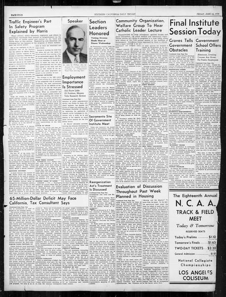 Southern California Daily Trojan: U.S.C. Institute of Government, Vol. 6, No. 3, June 16, 1939