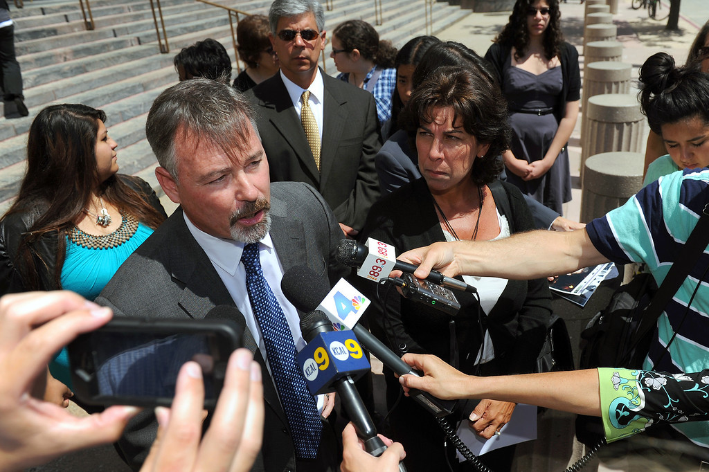 . Attorney Gary Dordick speaks to the media on the steps of the Federal Courthouse in downtown L.A., Wednesday, August 21, 2013, following the $3 million judgement against the Federal government in the wrongful death lawsuit in the shooting death of Zachary Champommier. (Michael Owen Baker/L.A. Daily News)