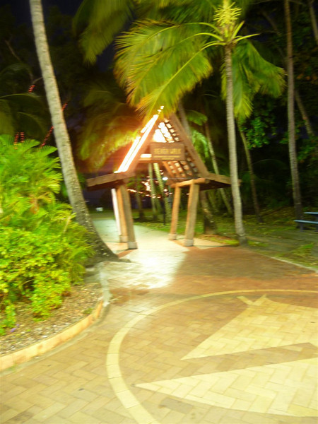 A gate to the Airlie Beach Beach Walk and park on Shute Harbour Road.