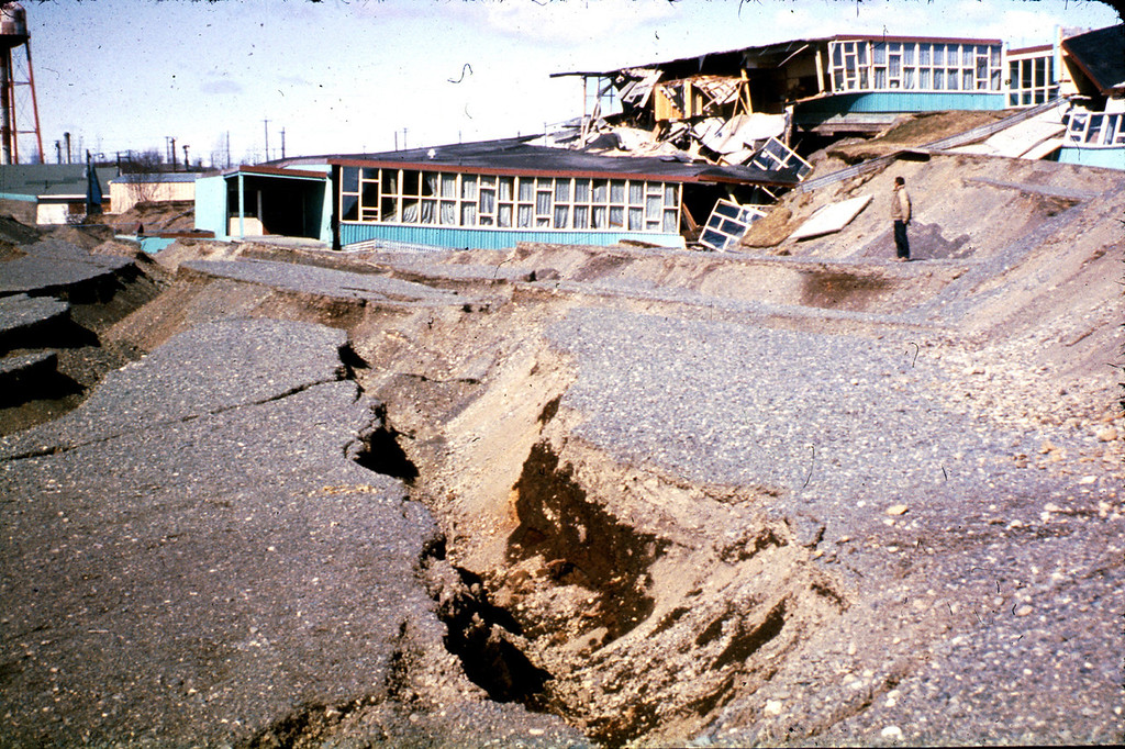 . Alaska Earthquake March 27, 1964. Government Hill Elementary School in Anchorage which was destroyed by the Government Hill landslide. U.S. Geological Survey photo