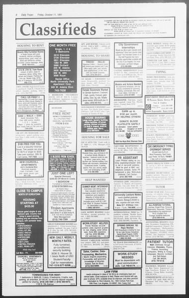Daily Trojan, Vol. 116, No. 29, October 11, 1991
