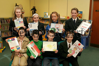 Newry Library World Cup Poster competition for local Primary Schools winners, Back Lto R.Laura O' Hare, Naicoisa Cunningham, Megan Magill, Front.Eamon Mc Elroy,Liam O' Hagan,Adrian Duffy, Gregory Walsh.06W44N10