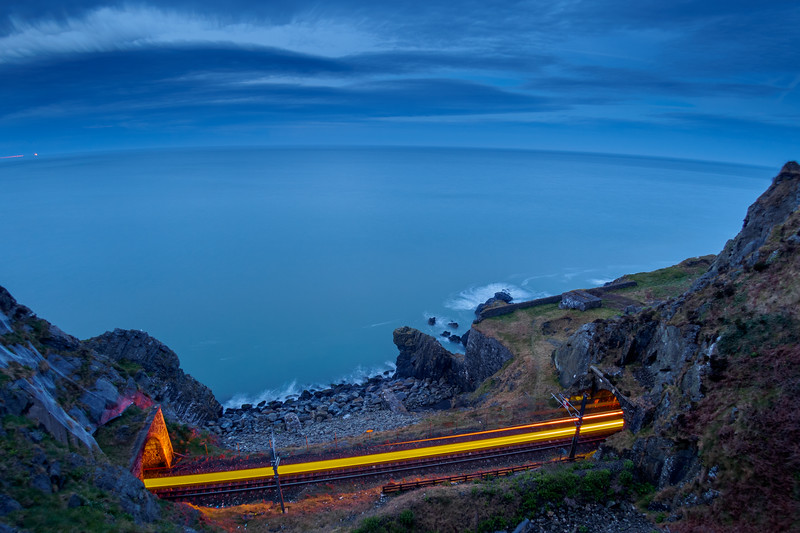 Light trail from train below the Cliff Walk
