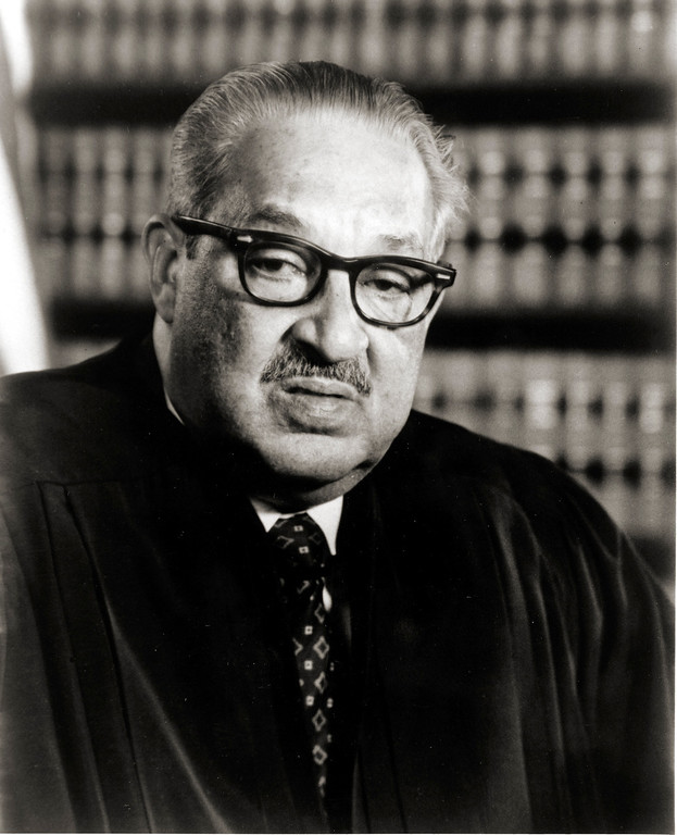 . U.S. Supreme Court Justice Thurgood Marshall poses in Washington, D.C., in 1983.  He is the first African-American to serve on the United States Supreme Court. (AP Photo)