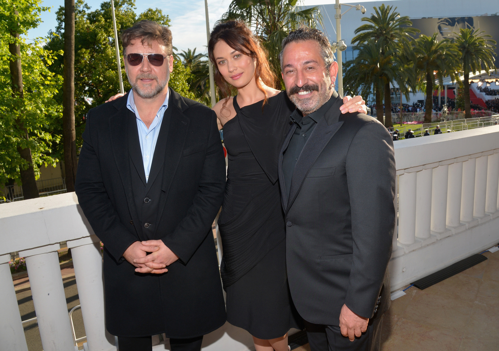 ". (L-R) Russell Crowe, Olga Kurylenko and Cem Yilmaz attend a presentation of ""The Water Diviner\"" at the 67th Annual Cannes Film Festival on May 15, 2014 in Cannes, France.  (Photo by Michael Buckner/Getty Images for Variety)"