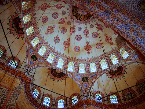 Lighter tones and delicate designs inside the Blue Mosque