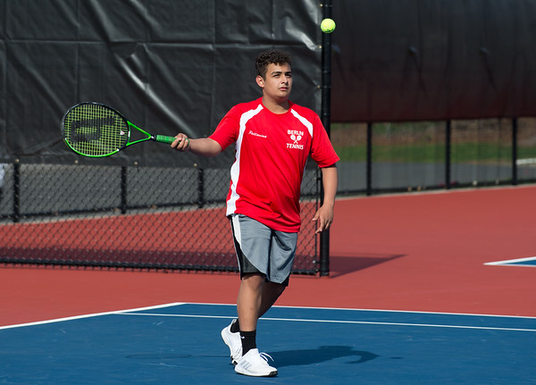 04/16/19 Wesley Bunnell | Staff Bristol Eastern boys tennis at Berlin on Tuesday afternoon. Berlin's Justin Pattarina.