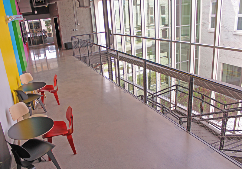 . A view of the second floor of the building.