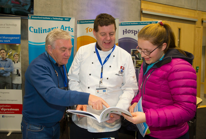 21/01/2017.  Waterford Institute of Technology (WIT) open day at WIT Arena. Pictured are Sarah Darker from Wicklow with Tony Barry and Mathias McGibney from WIT. Picture: Patrick Browne