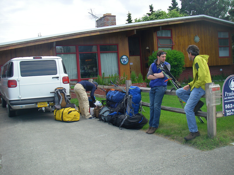 """June 23rd - Ready for departure- Anchorage, AK - In front of """"Earth Bed & Breakfast"""" where we gathered and spent first night. From right: John DM (Rochester, NY), John W. and Tim O. (both from London, England). Four of us - mountain skiers and we are waiting our two guides: Durny D. and Doug W."""