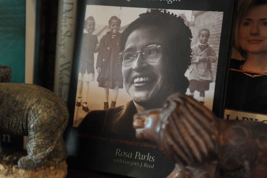 . Doris Topsy-Elvord, first African-American woman on the Long Beach City Council and co-founder of the African-American Heritage Society of Long Beach, was inspired by the words of Rev. Martin Luther King Jr. to stop talking and start doing. Book cover images of Rosa Parks and Hillary Clinton are among the people that have inspired Doris. (Photo by Sean Hiller/ Press Telegram/ LANG) 08-21-2013