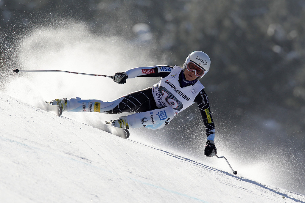 . Julia Mancuso of the USA competes during the Audi FIS Alpine Ski World Cup Women\'s Downhill on March 02, 2013 in Garmisch-Partenkirchen, Germany. (Photo by Alexis Boichard/Agence Zoom/Getty Images)