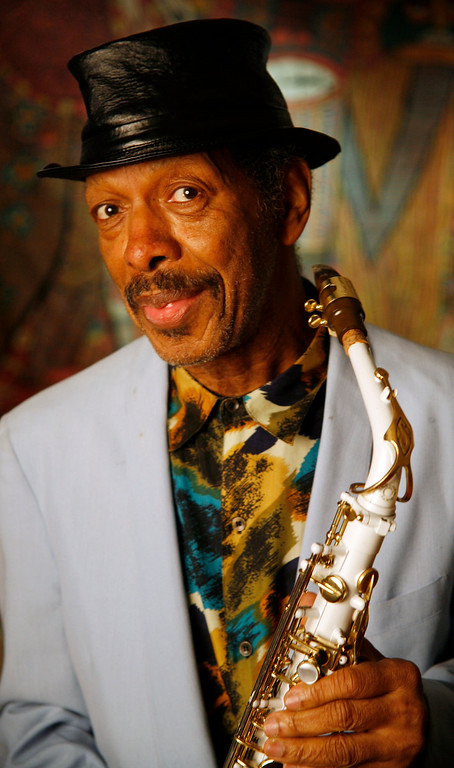 """. Jazz artist Ornette Coleman poses in his New York apartment, Monday, April 16, 2007. Coleman won a Pulitzer Prize in the music category for \""""Sound Grammar,\"""" his first release in a decade and only the second Pulitzer won by a jazz composer.   (AP Photo/Peter Morgan)"""