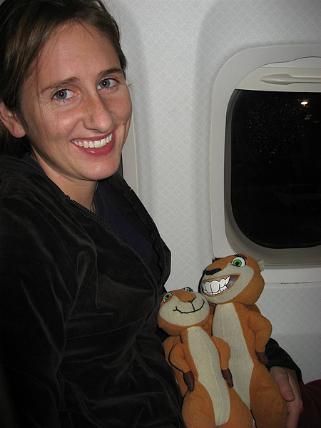 Katy, Hammy and Brenda on the plane. This is Hammy's 10th plane ride and Brenda's 2nd!