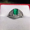 1.29ctw Emerald and Diamond Modified Halo Ring 17