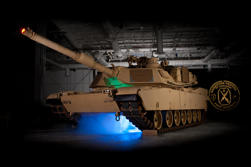 31AUG2010 - The first M1A2SEP at Fort Benning, GA is photographed inside the new 130,000 square foot VMI (Vehicle Maintenance Instruction) Facility at Harmony Church.  The motor pool outside this building utilizes 800,000 cubic yards of concrete to support these 70 ton tanks.  Photo by John D. Helms - john.d.helms@us.army.mil with assistance from Jimmy Russell and Matt Gillespie.