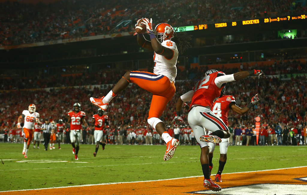 . MIAMI GARDENS, FL - JANUARY 03:  Sammy Watkins #2 of the Clemson Tigers catches a touchdown in the third quarter against Doran Grant #12 of the Ohio State Buckeyes during the Discover Orange Bowl at Sun Life Stadium on January 3, 2014 in Miami Gardens, Florida.  (Photo by Streeter Lecka/Getty Images)
