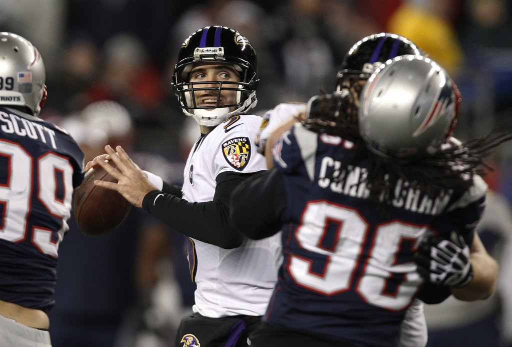 """. <p><b> Baltimore quarterback Joe Flacco made news with comments about former teammate Ray Lewis, saying that this �didn�t even make sense� � </b> <p> A. Lewis� pregame speeches  <p> B. Lewis� postgame comments  <p> C. Lewis� double murder alibi  <p><b><a href=\'http://tracking.si.com/2013/08/23/joe-flacco-ray-lewis-speeches-didnt-make-sense/\' target=\""""_blank\"""">HUH?</a></b> <p>    (AP Photo/Stephan Savoia)"""