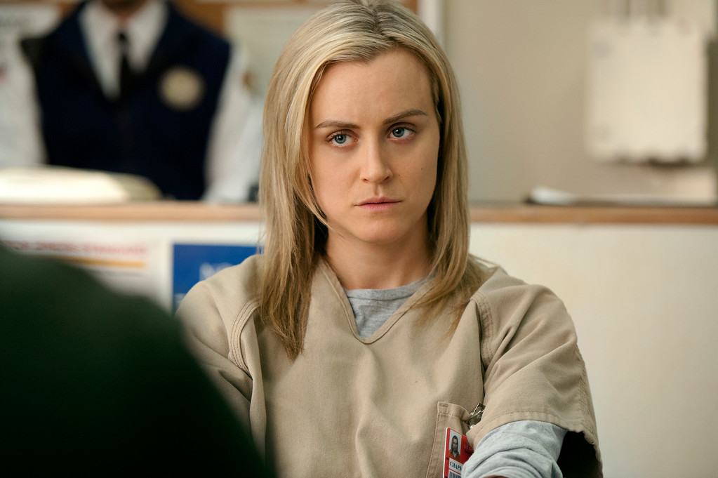 . This image released by Netflix shows Taylor Schilling in a scene from �Orange is the New Black.� The show was nominated for a Golden Globe for best comedy series on Thursday, Dec. 11, 2014. Schilling was also nominated for best actress in a comedy. The 72nd annual Golden Globe awards will air on NBC on Sunday, Jan. 11. (AP Photo/Netflix, JoJo Whilden)