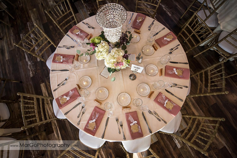 wedding table setup at Sunol's Casa Bella