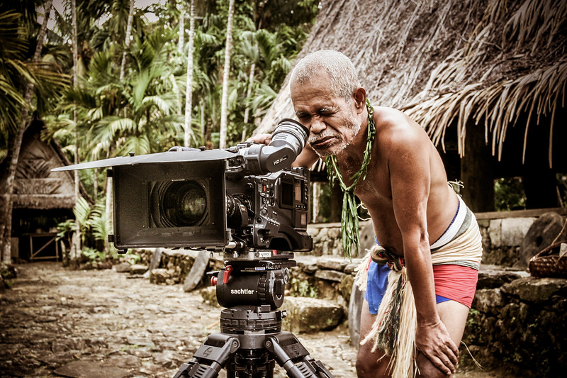 10 years ago I was filming for #BBCEarth on the remote Pacific island of Yap - famous for its giant round stone money. A local man, with a mouth stained red from the Betle nut he was chewing, was fascinated by our camera and so I let him have a go - he was focussing on his wife! #BBCEarth #BBC #EarthOnLocation #Yap #Micronesia #Pacific #Island #People #Camera #Technology