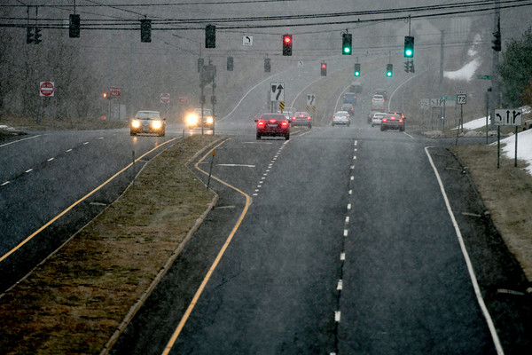 3/21/2018 Mike Orazzi   Staff Snow begins to fall around rush hour Wednesday on Route 72 in Forestville.