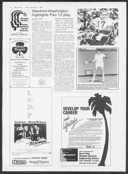 Daily Trojan, Vol. 100, No. 44, November 01, 1985
