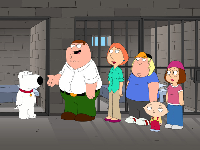 """. Brian gets thrown in the slammer in the \""""420\"""" episode of FAMILY GUY.  (2009/Fox)"""