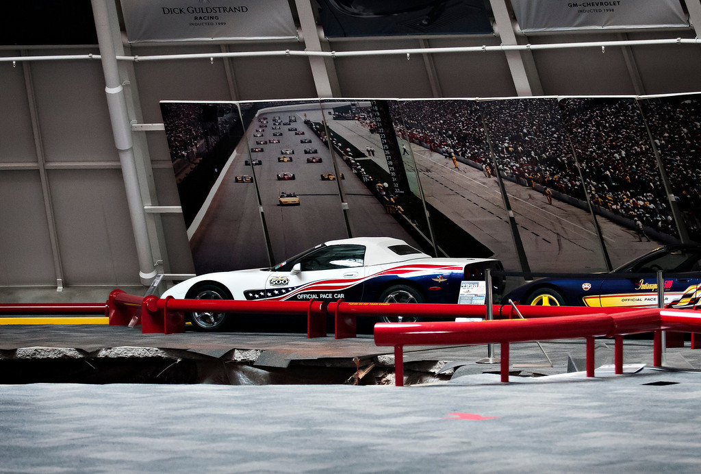 . A sinkhole opened up in the dome showroom, Wednesday, Feb. 12, 2014, in Bowling Green, Ky.m at the National Corvette Museum swallowing eight car. (AP Photo/Miranda Pederson, Daily News)