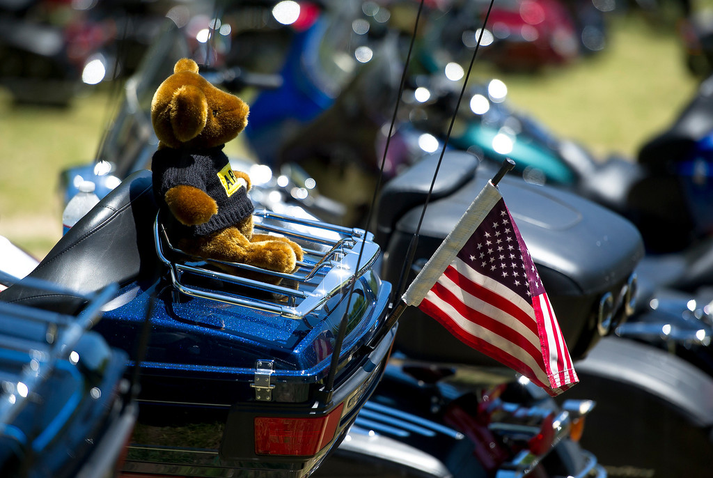 . A teddy bear is attached to a bike during Rolling Thunder 2013 in Washington on May 26, 2013. The 26th Annual Rolling Thunder rumbled into he US capital to show support for veterans and those who have fallen in past and present wars. Some one million riders are expected to gather in Washington DC during the Memorial Day weekend.    MLADEN ANTONOV/AFP/Getty Images