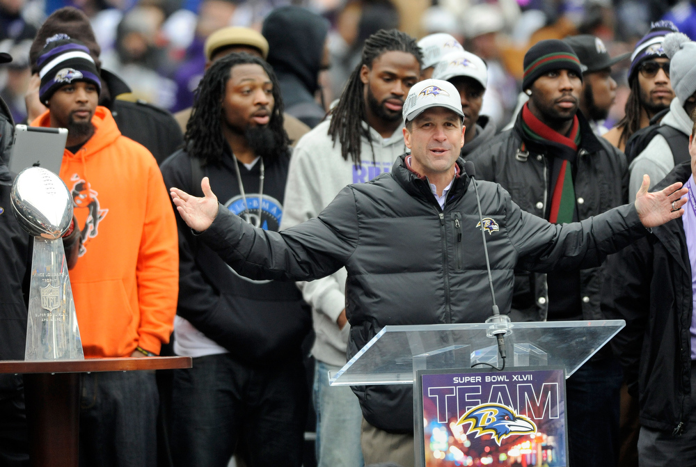 . Baltimore Ravens head coach John Harbaugh addresses fans during a celebration of the NFL football team\'s Super Bowl championship at M&T Bank Stadium in Baltimore Tuesday, Feb. 5, 2013. The Ravens defeated the San Francisco 49ers 34-31 Sunday. (AP Photo/Steve Ruark)