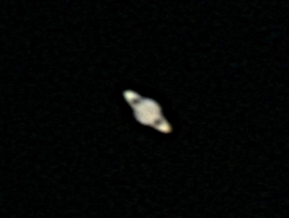 Saturn 21.5.2012 cca 2:30. Bresser Skylux 70/700, okulár 12mm, barlow 2.5x, webkamera Lifecam 5000