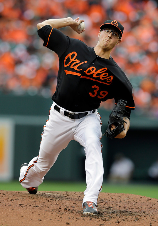 . Baltimore Orioles relief pitcher Kevin Gausman throws to the Detroit Tigers in the sixth inning of Game 2 in baseball\'s AL Division Series in Baltimore, Friday, Oct. 3, 2014. (AP Photo/Patrick Semansky)
