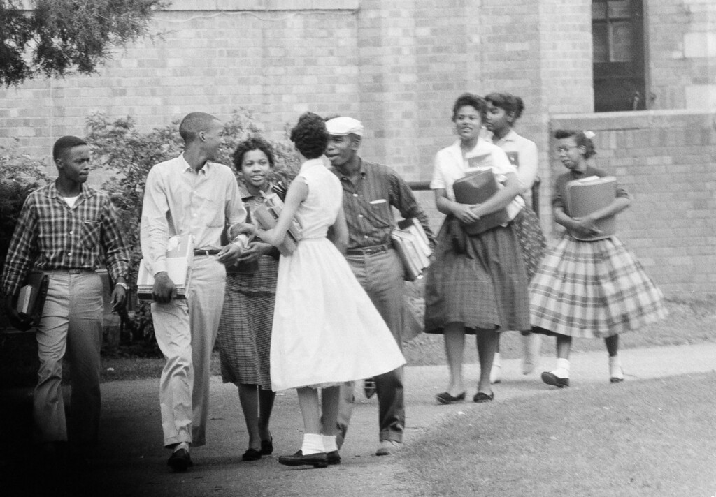 . Eight of the nine black students who have been attending Central High School in Little Rock, Ark., are shown as they walked from school to their  waiting Army station wagon, Oct. 2, 1957.  (AP Photo/Ferd Kaufman)