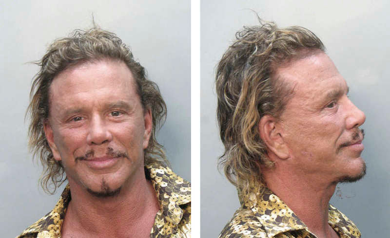 . In this photo combo provided by the Miami-Dade Corrections and Rehabilitation Department Thursday, Nov. 8, 2007, actor Mickey Rourke is shown. Rourke was arrested Thursday for driving under the influence on a green scooter, in Miami Beach, Fla., authorities said. (AP Photo/Miami-Dade Corrections and Rehabilitation Department)