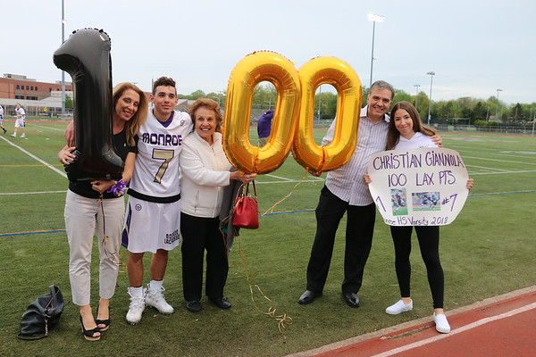 May 5, 2018 Boys LAX Sr Day vs Peddie School #7 Christian Giannola 100 point scored., photos by R. DeBoer