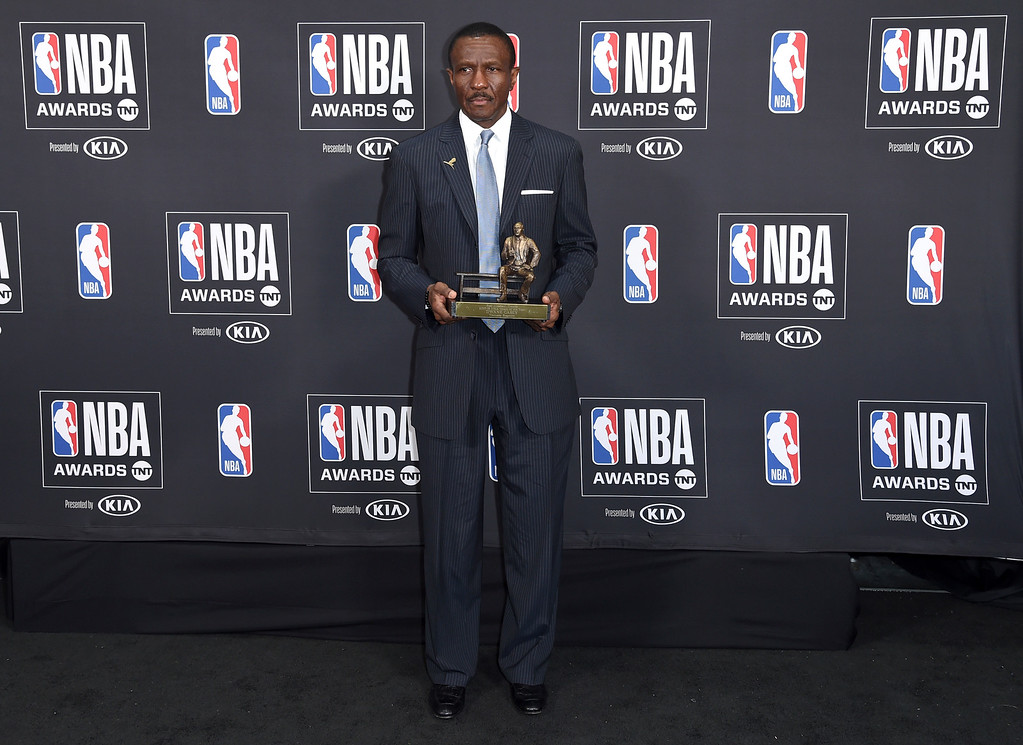 . Dwane Casey, current head coach of the Detroit Pistons, poses in the press room with the coach of the year award for his work with the Toronto Raptors at the NBA Awards on Monday, June 25, 2018, at the Barker Hangar in Santa Monica, Calif. (Photo by Richard Shotwell/Invision/AP)