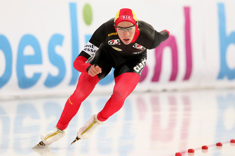 . Bart Swings of Belgium skates in the men\'s 1500m distance event at the World Speedskating Championships in Hamar in this picture provided by NTB Scanpix February 17, 2013. REUTERS/Hakon Mosvold Larsen/NTB Scanpix