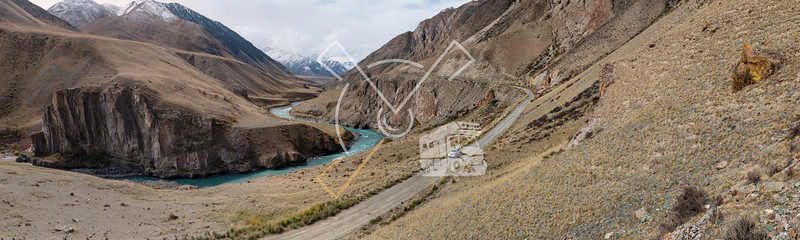 Panorama of tourist landscape photographer on a 4WD tour through the Kyrgyz Republic, having a stop along the Eki-Naryn valley