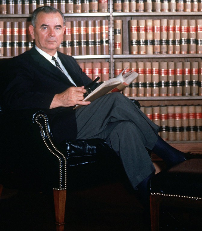 . Associate Supreme Court Justice William J. Brennan is shown in his chambers in this undated file photo.  Brennan, one of the most influential jurists in American history and primary architect of the individual-rights revolution in the law through the 1960s, died Thursday, July 24, 1997. He was 91. (AP Photo)