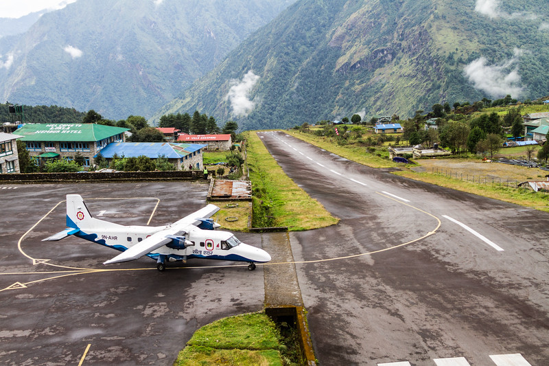 A plane prepares takes off from Tenzing-Hillary Airport in Lukla, Nepal