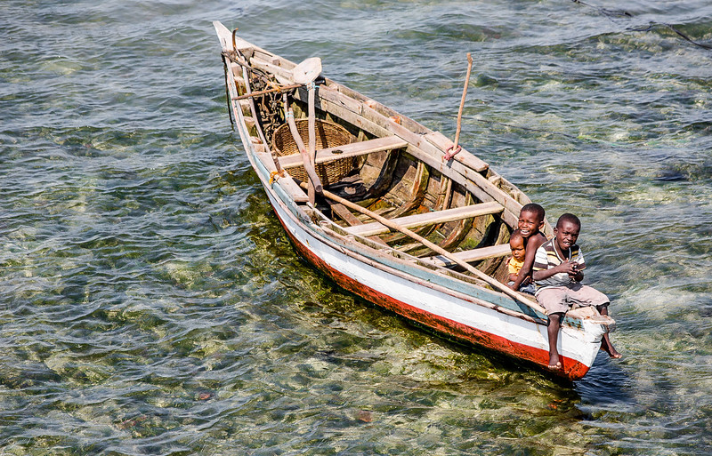 Kids in a boat at Ilha de Mozambique - Mozambique