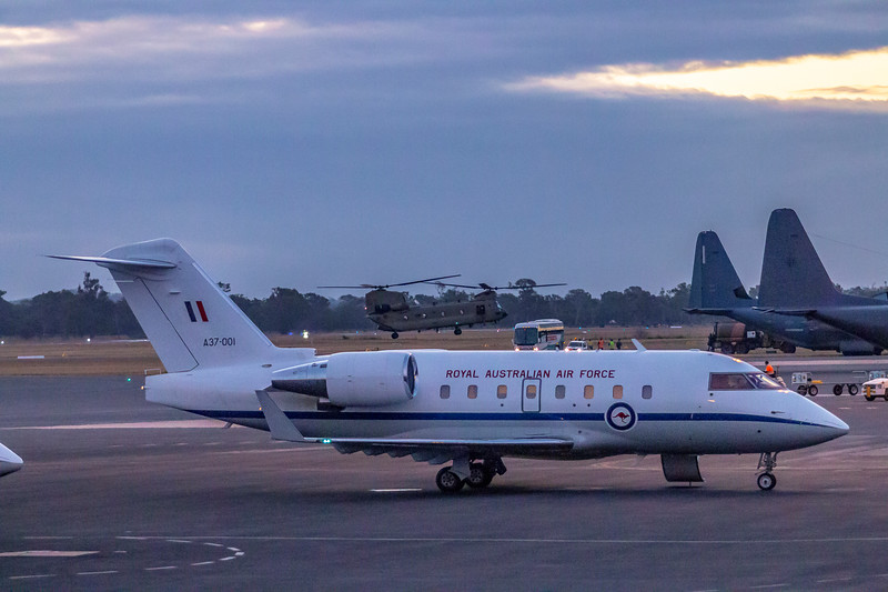 RAAF Bombardier Challenger 604 A37-001 at Rockhampton Airport 13-07-2017.