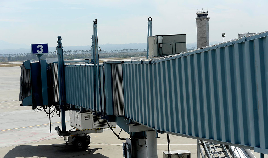 . A view of a airplane boarding tunnel as seen at the San Bernardino International Airport March 28, 2013.   GABRIEL LUIS ACOSTA/STAFF PHOTOGRAPHER.