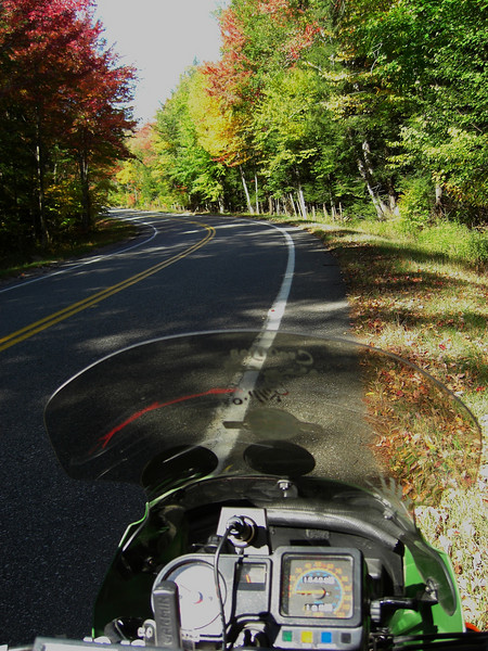 Forest Home Rd, oct 4, 2007 -  view from my Kawasaki KLR650 - approaching a long S-bend