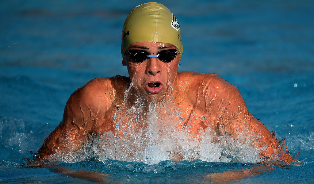 . Citrus Valley\'s Justin Quiroga competes in the 200 Yard IM during the Division 4 CIF Southern Section Swimming Championships in the Riverside Aquatics Complex at Riverside City College in Riverside, Calif., on Friday, May 16, 2014.  (Keith Birmingham/Pasadena Star-News)