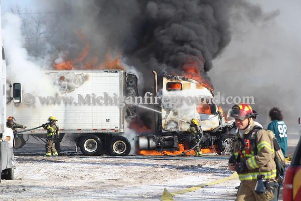 2/6/18 - Lansing semi truck fire, 5601 Enterprise Dr