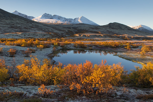 Dørålen valley at sunrise. The mountains in the distance are from left Høgeronden, Midtronden, Digeronden and Smedhamran. Rondane, Norway.