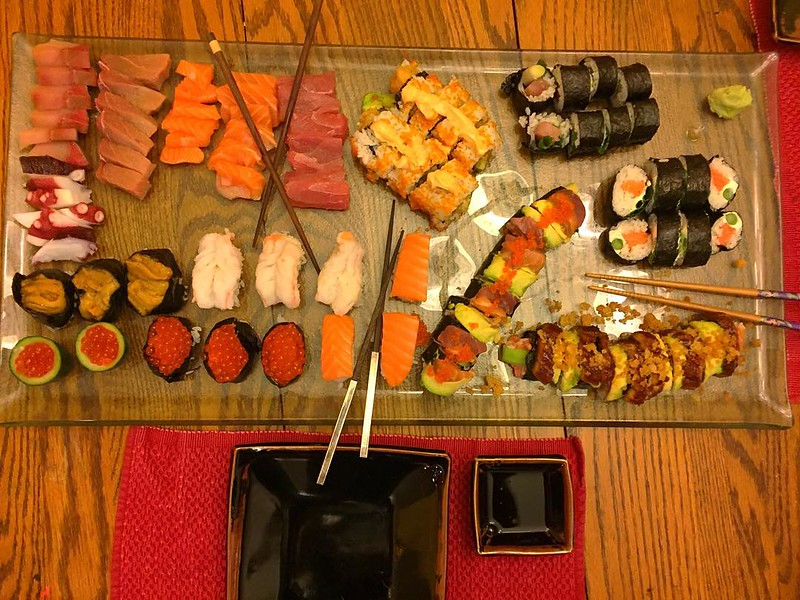 On the table tonite: sushi! Thanks for the help @kaylakat25